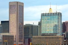 Buildings on the waterfront of Baltimore Inner Harbor. Maryland, USA royalty free stock photo