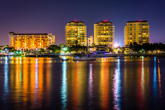 Buildings on the waterfront at night in Saint Petersburg, Florid Stock Image