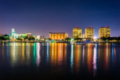 Buildings on the waterfront at night in Saint Petersburg, Florid Stock Photo