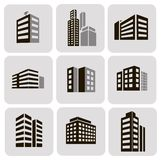 Buildings  web sticker icons set Stock Photo