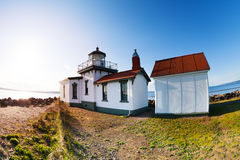 Buildings of West Point Lighthouse at sunny day Royalty Free Stock Images