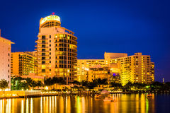 Buildings on the western shore at night, Miami Beach, Florida. Stock Image