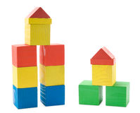 Buildings from wooden blocks Stock Images