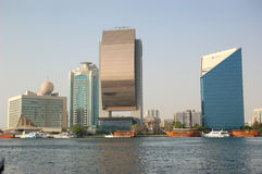 The buildings and yachts at Dubai Creek Royalty Free Stock Photo