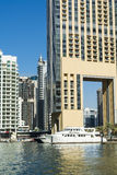 Buildings and yachts Dubai Marina Stock Images