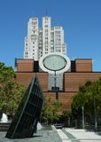 Buildings at Yerba Buena Gardens. Buildings, trees, and sky in San Francisco Stock Photo