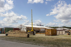 Buildup of the Oktoberfest tents at Theresienwiese in Munich, 20 Stock Image