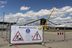 Buildup of the Oktoberfest tents at Theresienwiese in Munich, 20 Royalty Free Stock Image