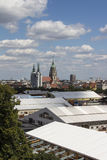 Buildup of the Oktoberfest tents at Theresienwiese in Munich, 20 Royalty Free Stock Photo