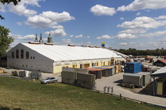 Buildup of the Oktoberfest tents at Theresienwiese in Munich, 20 Stock Photography