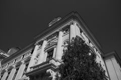 Builiding black and white. Black and white photography building corner city architecture Stock Image