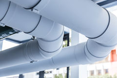 Builiding industrial water pipeline. Closed up Stock Image