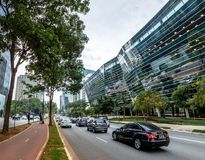 Builidings at Faria Lima Avenue in Sao Paulo financial district - Sao Paulo, Brazil. Sao Paulo, Brazil - Oct 20, 2017: Builidings at Faria Lima Avenue in Sao Stock Image