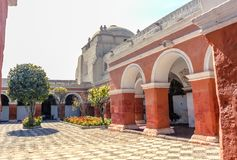 Santa Catalina covent in Arequipa. Built in 1579 in Arequipa, Peru, this covent is the biggest of the world with 20462 m2. Originally, it has 450 Carmelites nuns Royalty Free Stock Photography
