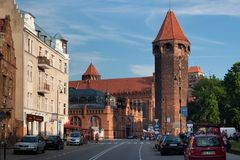 GDANSK, POLAND - JUNE 07, 2014: View of the St. Hyacinth Tower. Is the highest 36 m municipal tower in Gdansk. stock image