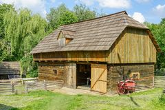Traditional village barn at Targu Neamt Stock Image