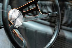 88th Geneva International Motor Show 2018 - Bizzarini Manta 1968 Concept Car steering wheel royalty free stock photography