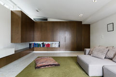 Built in cabinetry in modern living room interior. Built in walnut veneer cabinetry in modern living room interior Stock Photography