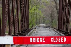 Old Truss Train Bridge in Carpentersville, IL Stock Photo