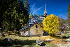 Braies Lake, small church. Dolomites, Trentino Alto Adige, Italy. Built in the early twentieth century and consecrated in 1904. Owned by the Hotel Lago di Braies royalty free stock photography