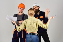 Built with excellence. Group of constructing engineers and architects at work. Professional people working on. Construction design. Construction workers team royalty free stock images