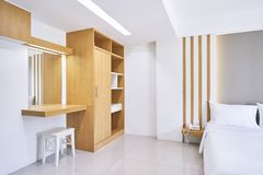 Built-in furniture, Dressing table of the hotel apartment, bedroom interior, mock up stock images