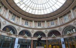 Built in 1823, Galerie Colbert is covered arcade belongs to the Biblioth que Nationale. It is listed as a historical. Paris, France-JUNE 109 2018 : Built in 1823 royalty free stock photography