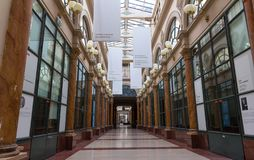 Built in 1823, Galerie Colbert is covered arcade belongs to the Biblioth que Nationale. It is listed as a historical. Paris, France-JUNE 109 2018 : Built in 1823 royalty free stock images