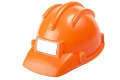 Built helmet. Orange plastic built helmet. Isolated on the white background Royalty Free Stock Photos