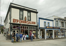 Red Onion Saloon in Skagway, Alaska. Built in 1897, the historic Red Onion Saloon on 2nd and Broadway in Skagway, Alaska, was once the premiere bordello in a Stock Image