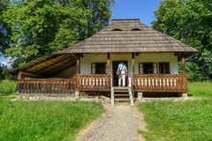 Traditional house visitor at Targu Neamt Royalty Free Stock Images
