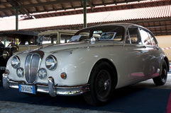 A 1960 built Jaguar Daimler. On  Auto d'Epoca in Franciacorta, exhibition of cars from ancient times to the present day, April 28,2013 in Rovato, Italy Royalty Free Stock Images