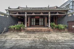 Liu Man Shek Tong Ancestral Hall, Hong Kong. Built in 1751 by Lius family whom migrated several times from China Fujian to Sheung Shui Hong Kong. Lius family was royalty free stock photo