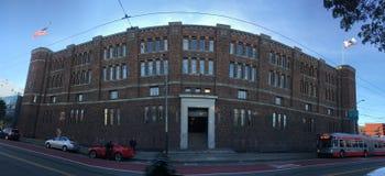 San Francisco`s historic National Guard Armory and arsenal, North side. Built in the Moorish castle style, the San Francisco Armory was built 1912-1914 as a Stock Photos