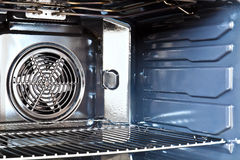 Built in oven. Detail of the interior of a modern oven built with fan royalty free stock photo