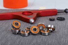 Built-in spacer bearings. Built-in spacer ABEC9 608 bearings for longboard or skateboard stock image