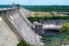 Built to Help. The Mansfield dam on Lake Travis was built to help control flooding and generate hydroelectric power for the area near Austin Texas royalty free stock images