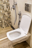 Built-in toilet with hygienic shower Stock Images