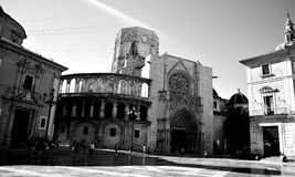 The Cathedral Valencia. Built in the XIII century it immediately has subsequently different rehashes integrating in a composite style the Gothic one, the royalty free stock image