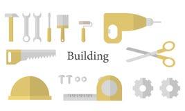 Buinding symboler ställde in på den vita bakgrunden vektor illustrationer