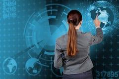 Buinesswoman in globaal bedrijfsconcept Stock Foto