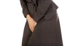 Buinesswoman mit Toilettenproblem Lizenzfreies Stockfoto