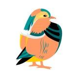 Buio disegnato a mano del mandarino Uccello sveglio orientale esotico isolato su bianco Perfezioni per la stampa royalty illustrazione gratis