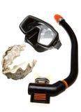 Buis voor het duiken (snorkel), overzeese shell en masker Royalty-vrije Stock Foto's
