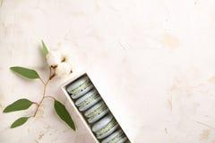 Buiscits français de dessert de macarons de myrtille sur le fond texturisé rose blanc en bois Image libre de droits