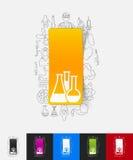 Buisdocument sticker met hand getrokken elementen Royalty-vrije Stock Afbeelding