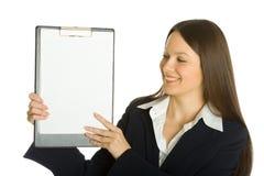 Buisiness Woman Holding A Blank Clipboard Stock Photos