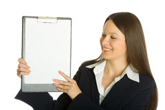 Buisiness woman holding a blank clipboard Stock Photos