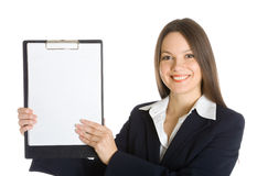 Buisiness woman holding a blank clipboard Stock Photography