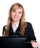 Buisinesswoman glimlachen en computer Stock Foto